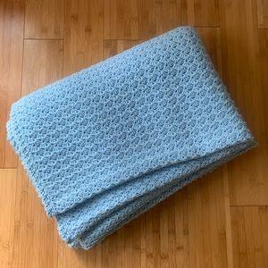 Hand Knit LARGE Blanket Sky Blue